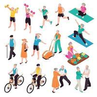 Active Senior People Set Vector Illustration