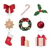 Elements Of Christmas Collection Vector Illustration