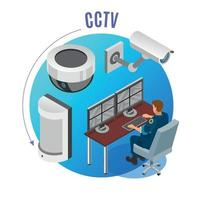 Security Systems Isometric Background Vector Illustration