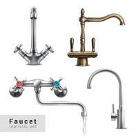 Realistic Faucet Designs Set Vector Illustration