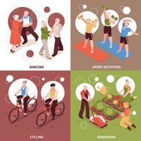 Senior People Concept Icons Set Vector Illustration