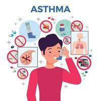 Asthma Flat Composition Vector Illustration