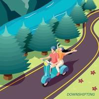 Downshifting Couple Isometric Background Vector Illustration