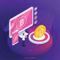 Financial Technology Crypto Currency Composition Vector Illustration