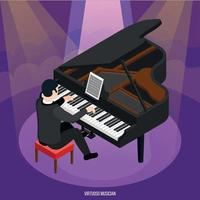 Talented Pianist Isometric Composition Vector Illustration