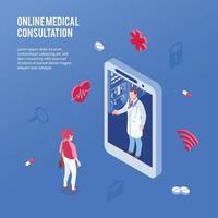 Isometric Online Medicine Doctor Concept Vector Illustration