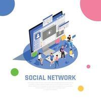 Social Media Isometric Composition Vector Illustration