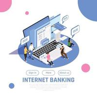 Internet Banking Isometric Design Vector Illustration