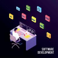 Isometric Programmers Composition Vector Illustration