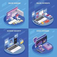 Ilustración de vector de concepto isométrico de banca en línea