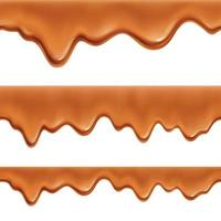 Caramel Realistic Seamless Border Vector Illustration