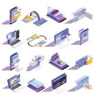 Ilustración de vector de iconos isométricos de banca en línea