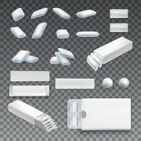 Realistic Chewing Gum Transparent Set Vector Illustration
