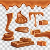 Caramel Realistic Transparent Set Vector Illustration