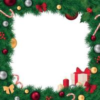 Christmas Frame Realistic Composition Vector Illustration