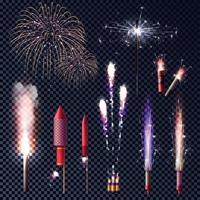 Sparkler Fireworks Transparent Set Vector Illustration