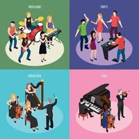 Musicians Isometric Design Concept Vector Illustration