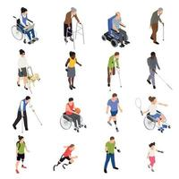 Disabled People Isometric Set Vector Illustration