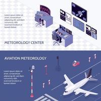 Isometric Meteorological Weather Center Banner Set Vector Illustration