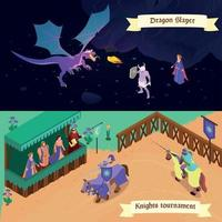 Medieval Isometric Banners Vector Illustration