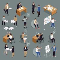 Teamwork Collaboration Isometric Set Vector Illustration
