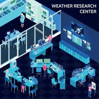 Isometric Meteorological Weather Center Composition Vector Illustration