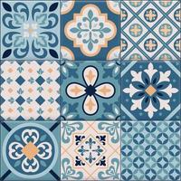 Realistic Ceramic Floor Tiles Ornaments Icon Set Vector Illustration