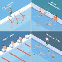 Public Swimming Pool Isometric Concept Vector Illustration