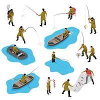 Fishing Situations Isometric Set Vector Illustration