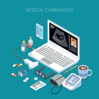 Remote Medical Examination Isometric Composition Vector Illustration
