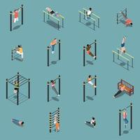 Street Workout Isometric Icons Vector Illustration
