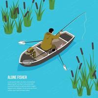 Alone Fisher Isometric Illustration Vector Illustration