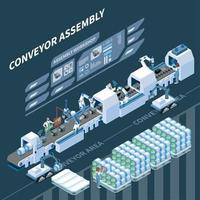 Smart Assembly Line Isometric Composition Vector Illustration