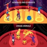 Circus Professions Isometric Banners Vector Illustration