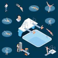 Ilustración de vector de conjunto isométrico de piscina pública