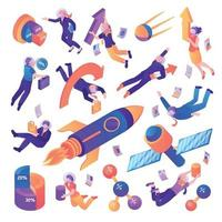 Business Space Isometric Set Vector Illustration