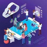 Augmented Reality Isometric Composition Vector Illustration