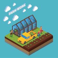 Farm Work Isometric Composition Vector Illustration