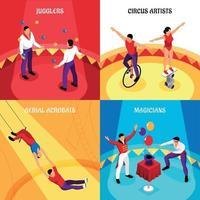 Circus Professions Isometric Design Concept Vector Illustration