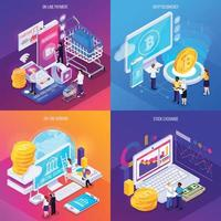 Ilustración de vector de concepto de diseño isométrico de tecnología financiera