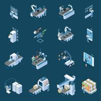 Smart Industry Isometric Icons Vector Illustration