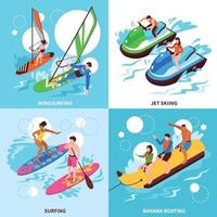 Water Sport 2x2 Design Concept Vector Illustration