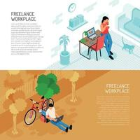 Freelance Workplace Horizontal Banners Vector Illustration