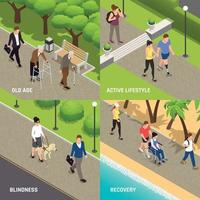 Disabled injured Isometric Concept Vector Illustration