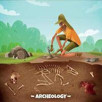 Archeologist Outdoor Expedition Background Vector Illustration