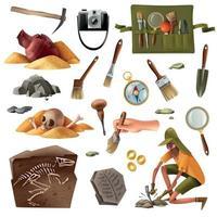 Archeology Essential Elements Set Vector Illustration