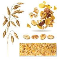 Realistic Muesli Cereal Set Vector Illustration