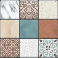 Realistic Ceramic Floor Tiles Icon Set Vector Illustration