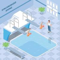 Synchronized Diving Isometric Composition Vector Illustration