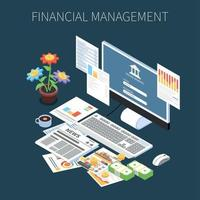 Financial Management Isometric Composition Vector Illustration